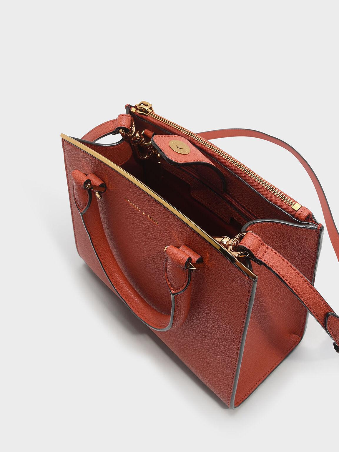 Classic Structured Handbag, Brick, hi-res