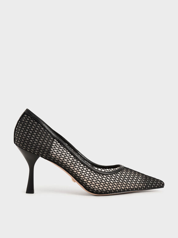 Leather Mesh Pumps, Black, hi-res