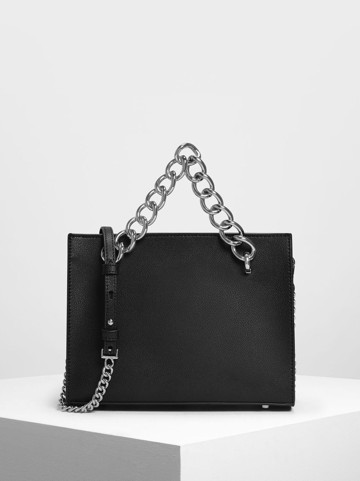 Chunky Chain Tote Bag, Black, hi-res