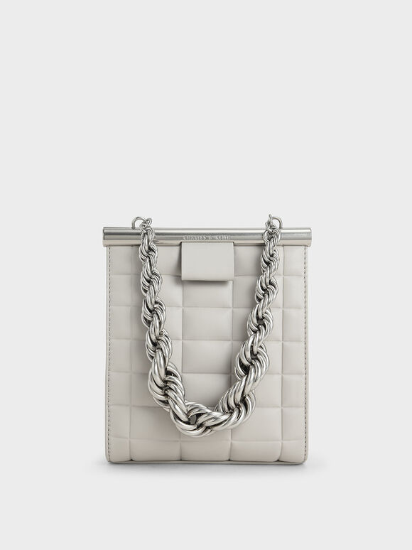 Chunky Chain Link Quilted Bag, Grey, hi-res