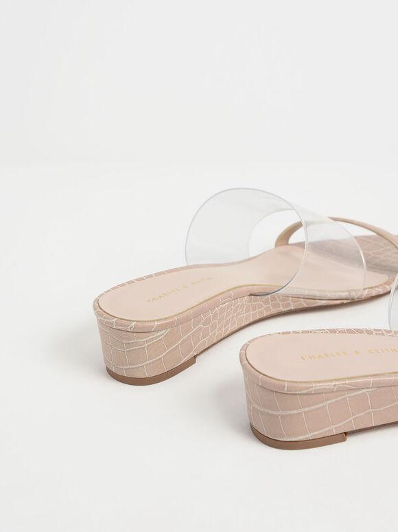 Croc-Effect Low Wedges, Nude, hi-res