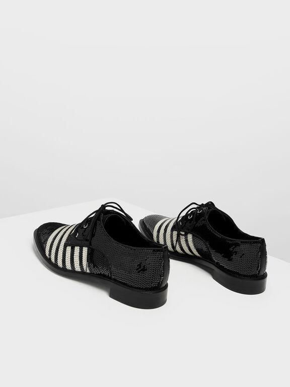 Sequin Derby Shoes, Black Textured