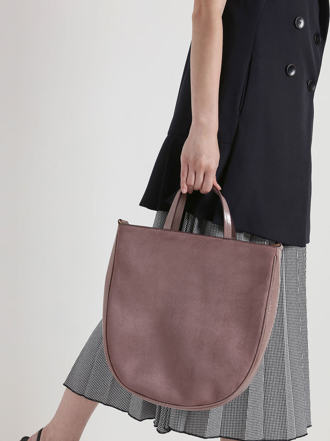 Textured U-Shaped Tote Bag, Mauve, hi-res