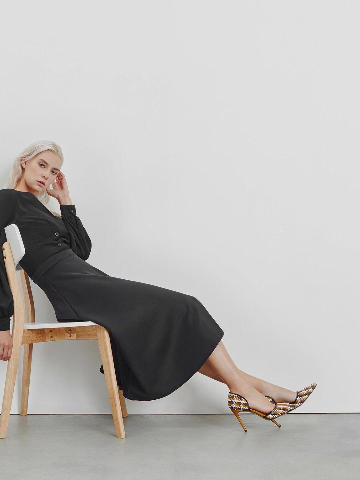 Raffia D'Orsay Heels, Brown, hi-res