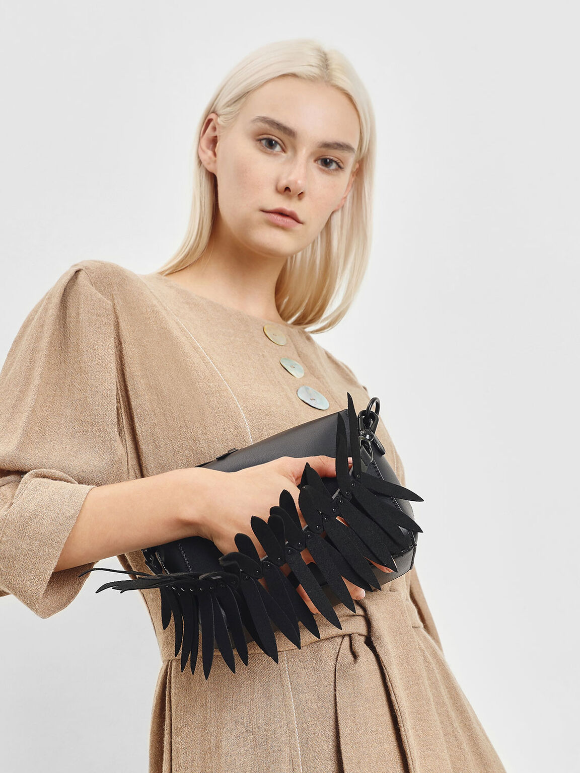 Flare Fringe Mini Bag Strap, Black, hi-res