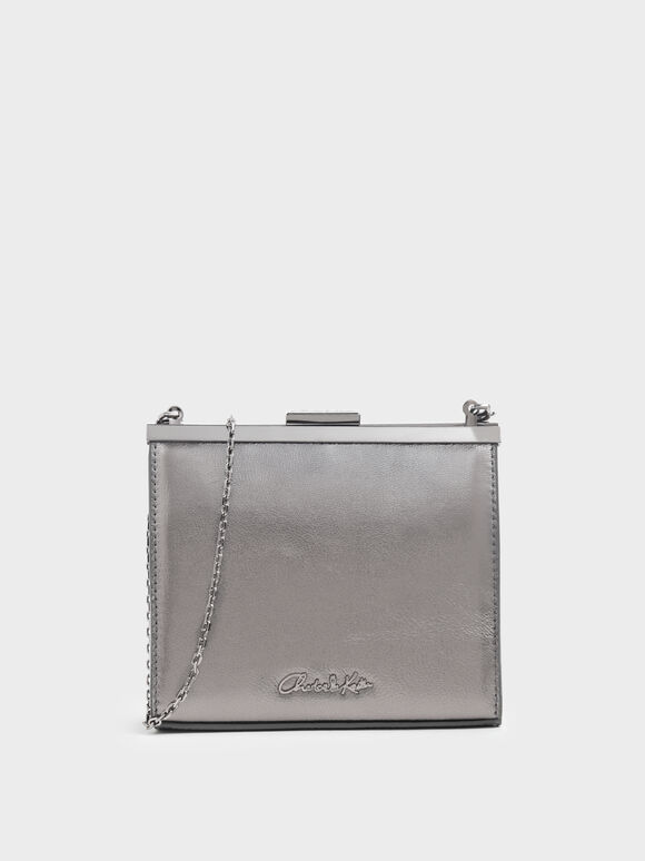 Wrinkled Effect Leather Boxy Clutch, Pewter, hi-res