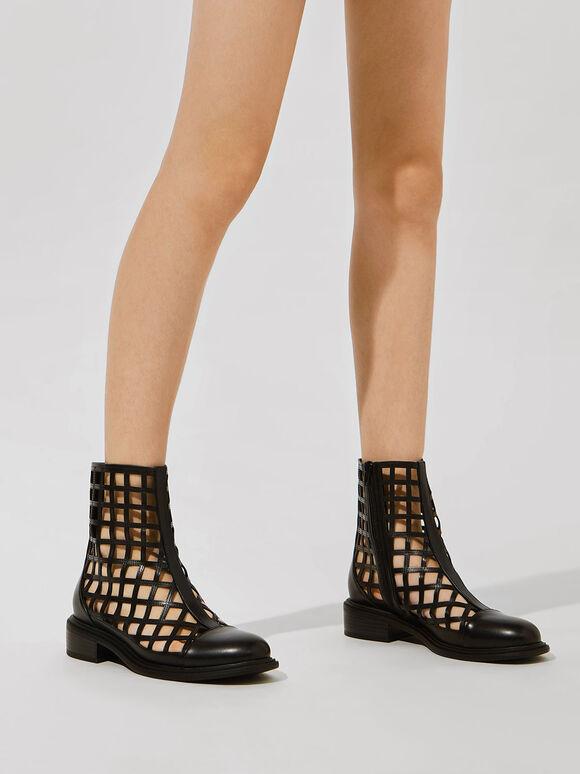 Caged Ankle Boots, Black, hi-res