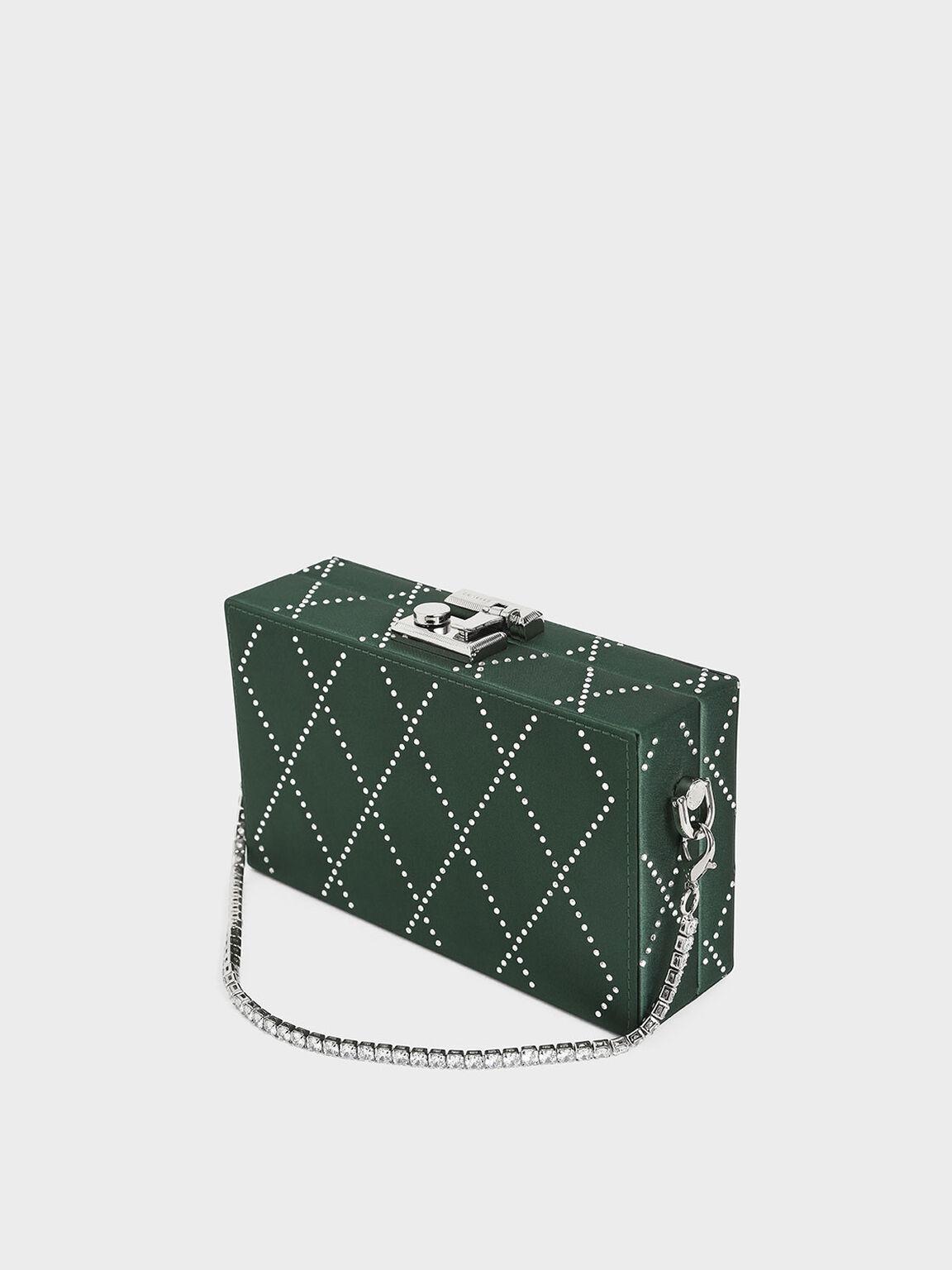 Satin Embellished Clutch, Dark Green, hi-res