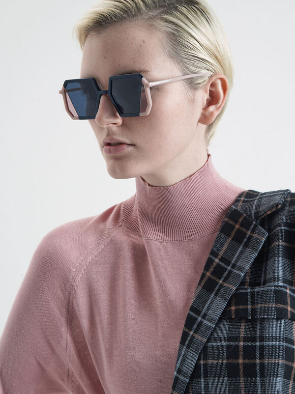 Two-Tone Geometric Sunglasses, Dark Blue, hi-res
