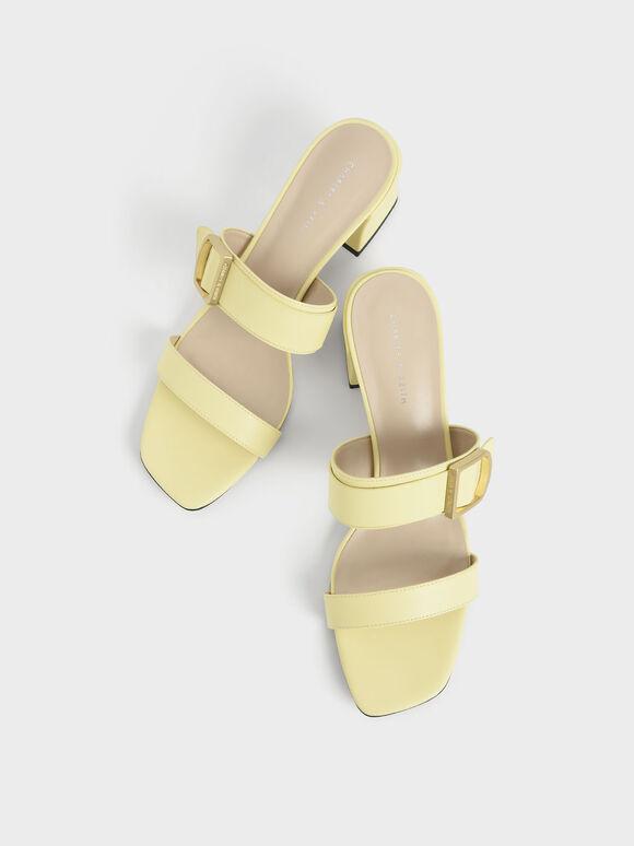 Buckle Strap Block Heel Mules, Yellow, hi-res