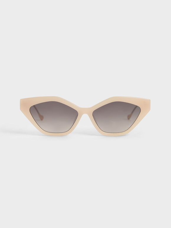 Cat-Eye Acetate Sunglasses, Pink, hi-res