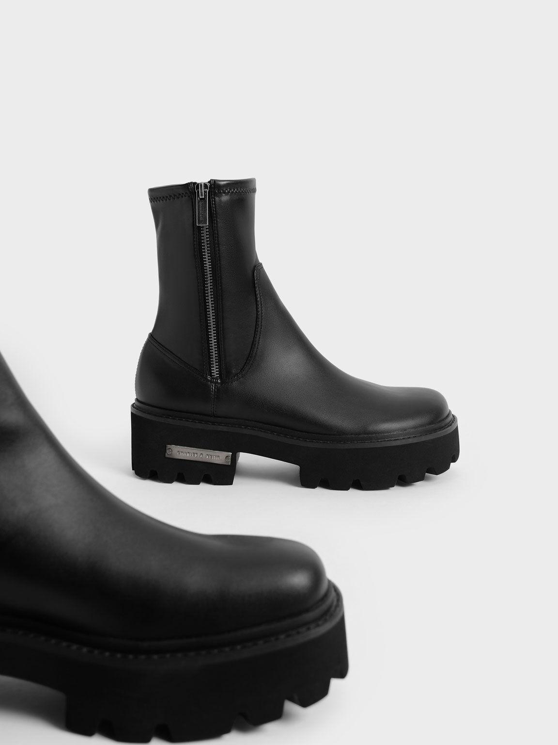 Side-Zip Ankle Boots, Black, hi-res