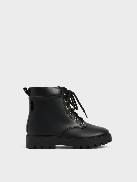 兒童綁帶厚底短靴, 黑色, hi-res