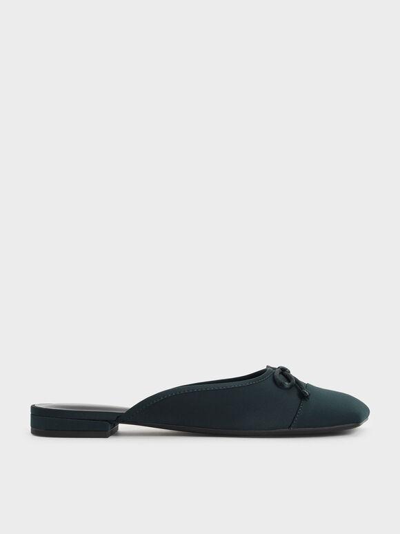 蝴蝶結平底穆勒拖鞋, 深綠色, hi-res