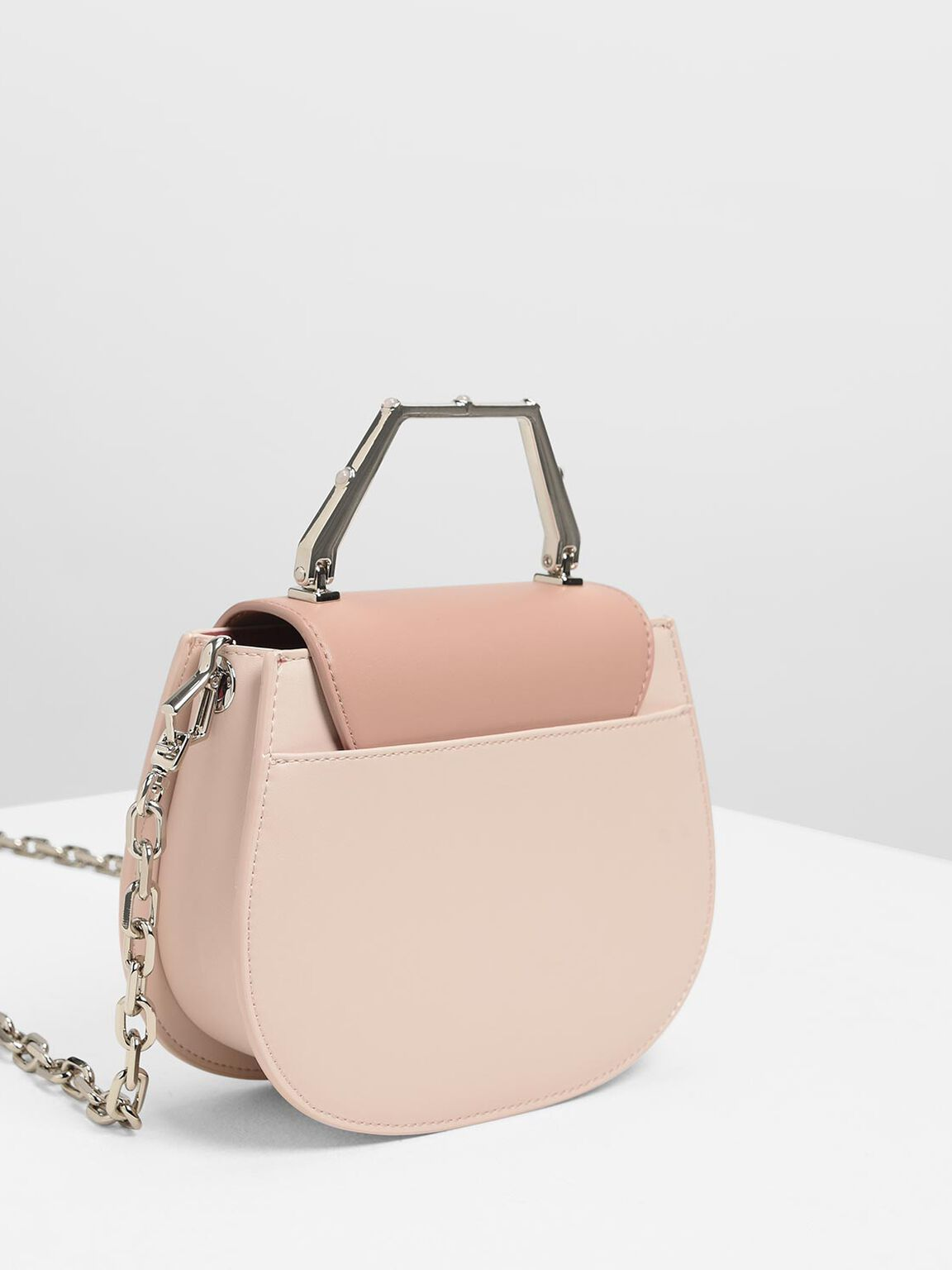 Metal Top Handle Bag, Light Pink, hi-res
