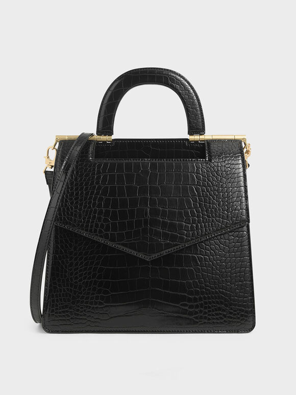 Croc-Effect Envelope Bag, Black, hi-res