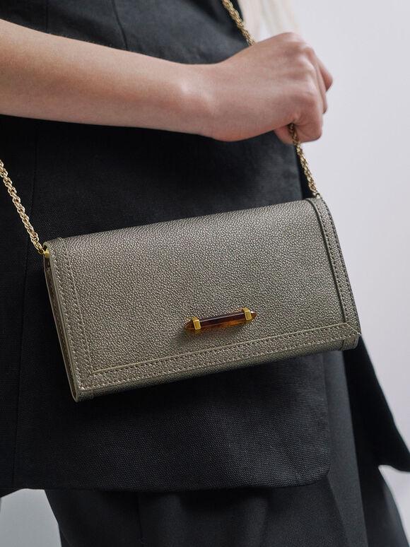 Stone-Embellished Front Flap Long Wallet, Bronze, hi-res
