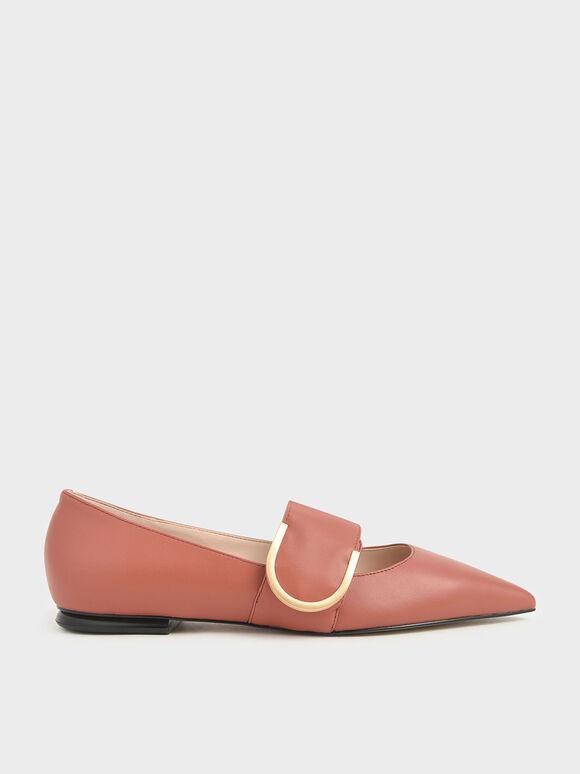 Leather Mary Jane Flats, Brick, hi-res