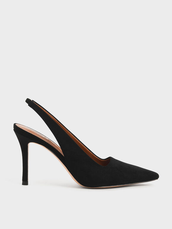 Stiletto Heel Slingback Pumps, Black Textured, hi-res