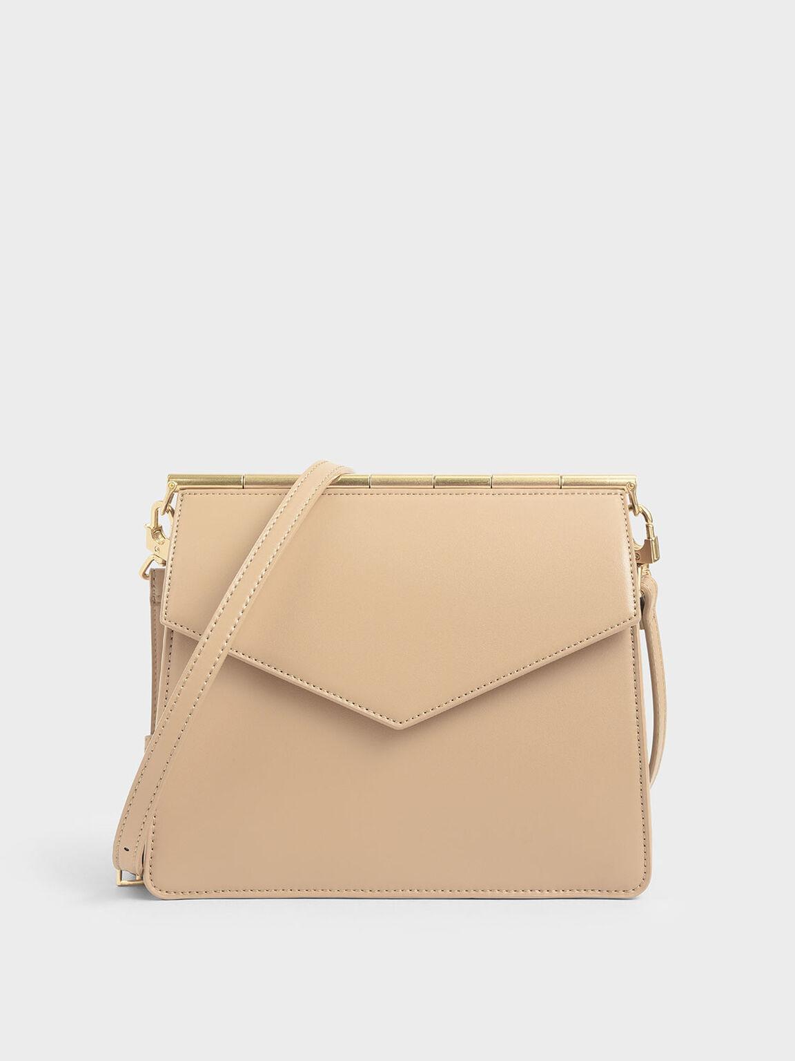 Angular Crossbody Bag, Beige, hi-res