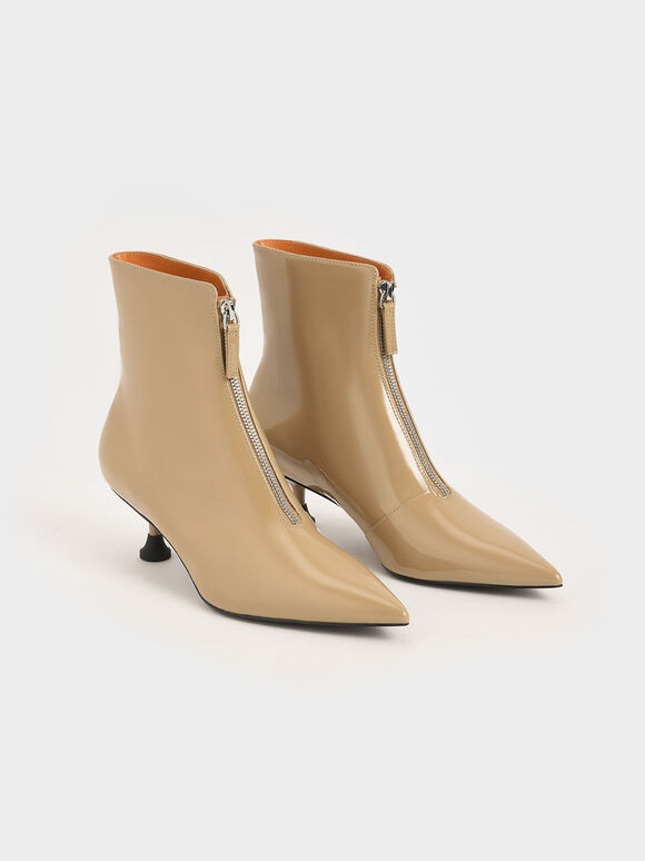Patent Front Zip Ankle Boots, Sand, hi-res
