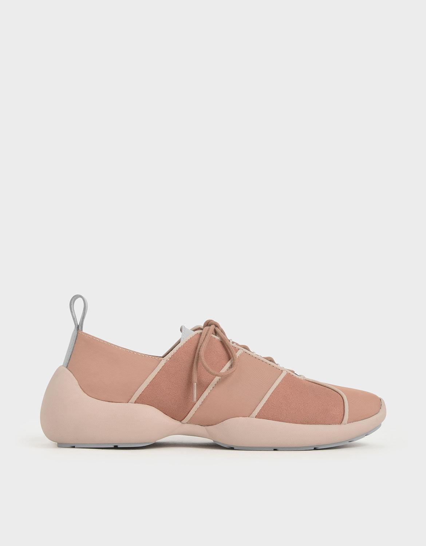 \u0026 Microsuede Lace-Up Sneakers   CHARLES