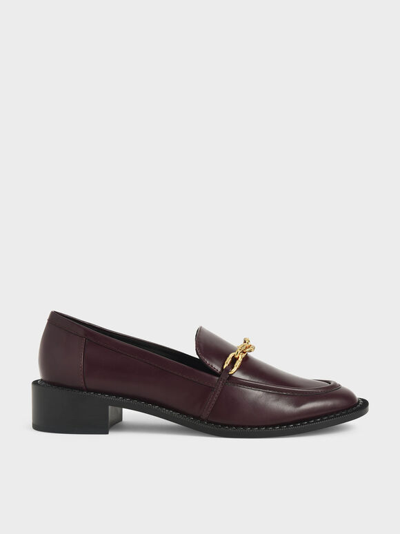 Chunky Chain Link Loafers, Burgundy, hi-res