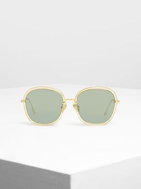 Double Wire Frame Shades, Gold