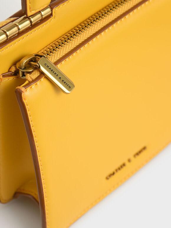 Top Handle Envelope Bag, Yellow, hi-res