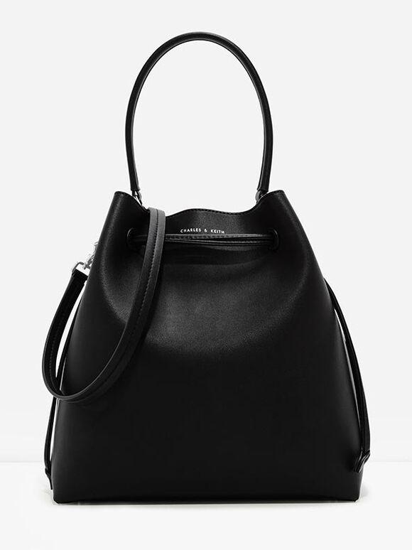 Basic Drawstring Bag, Black, hi-res