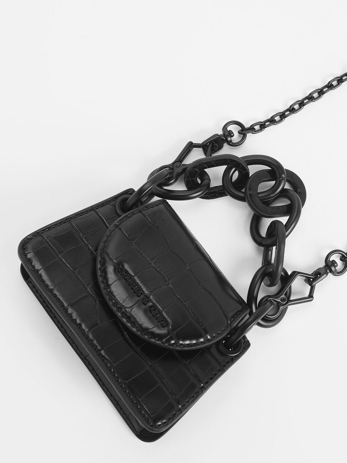 Croc-Effect Chunky Chain Handle Mini Bag, Black, hi-res