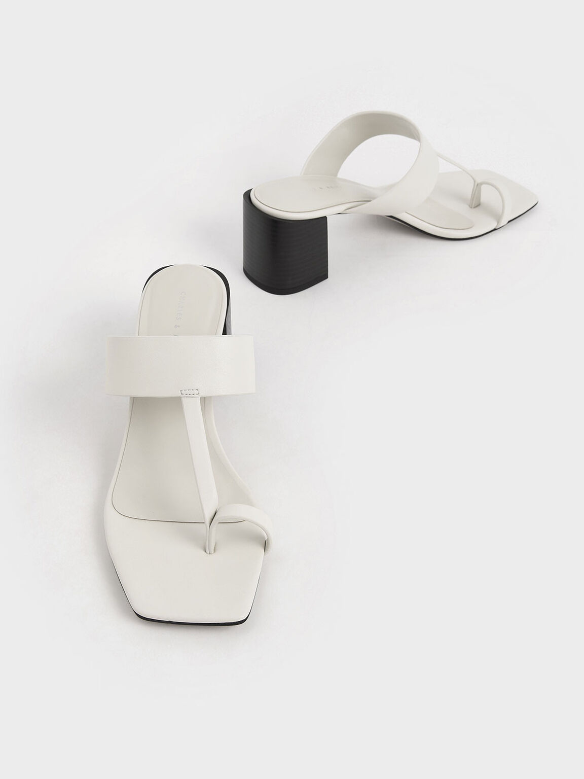 Toe Ring Block Heel Sandals, Chalk, hi-res