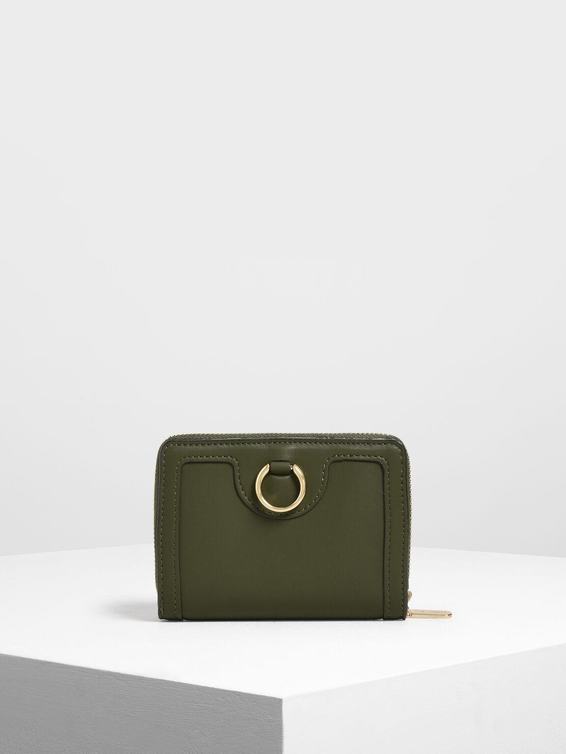Ring Detail Wallet, Olive, hi-res