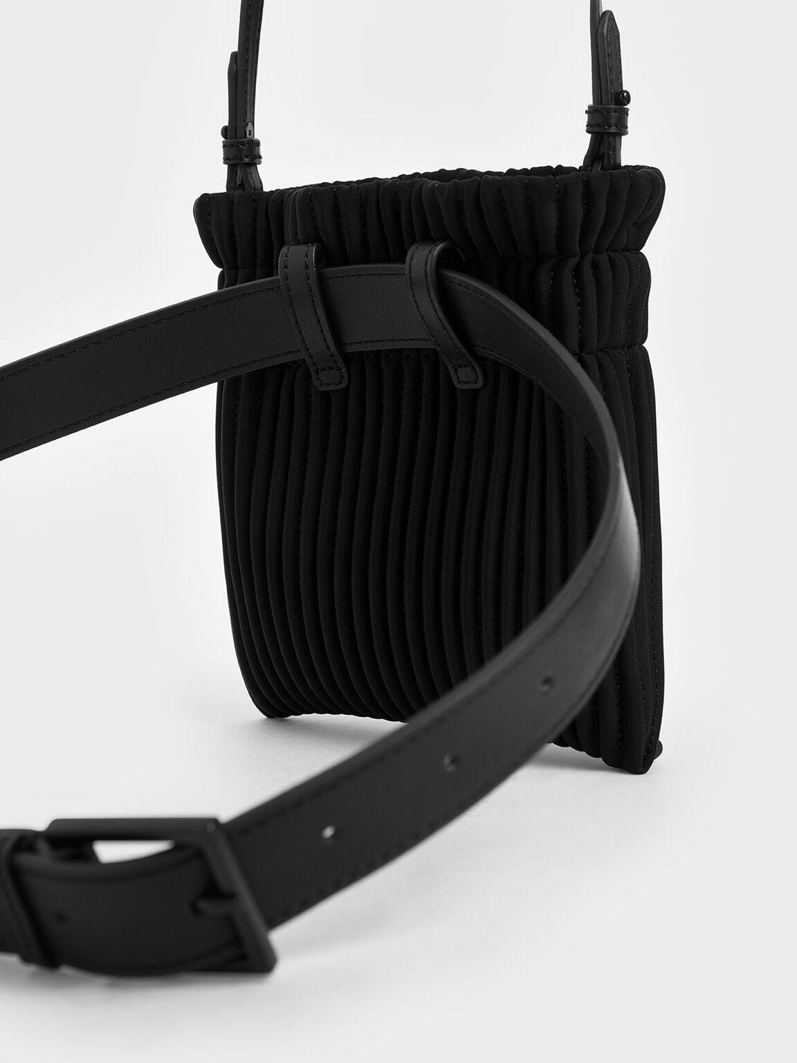 Neoprene Drawstring Belt Bag, Black, hi-res