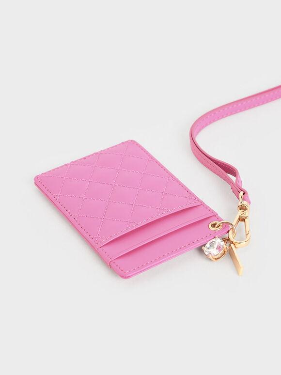 菱格紋票卡夾, 粉紅色, hi-res