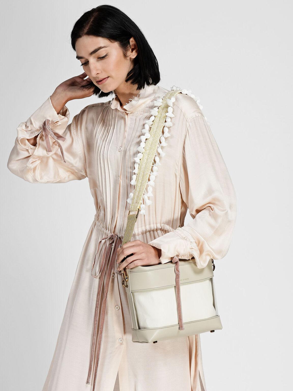 Pom Pom Bag Strap, Gold, hi-res