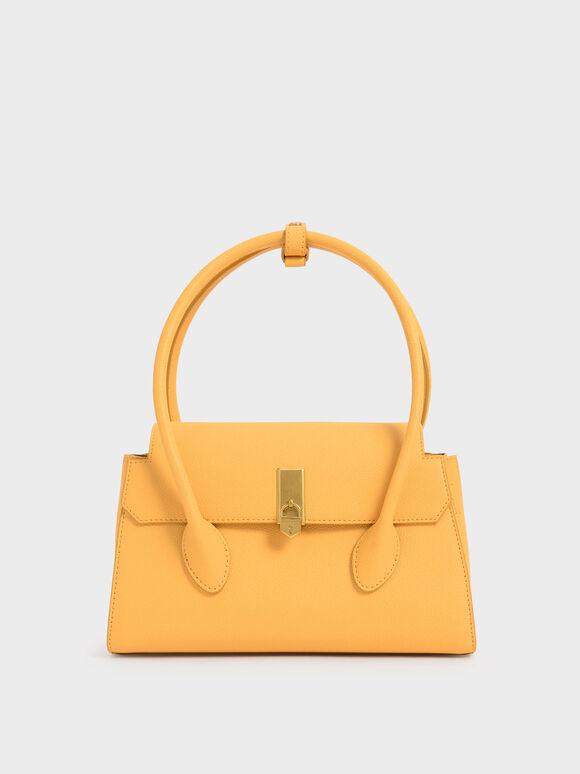 Double Handle Push-Lock Bag, Mustard, hi-res