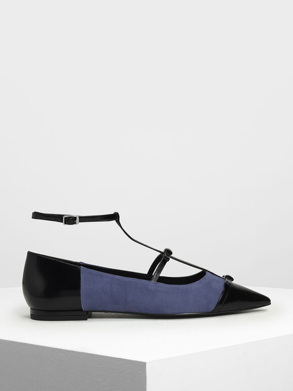 Kid Suede Ribbon Detail Ballerina Flats, Blue, hi-res