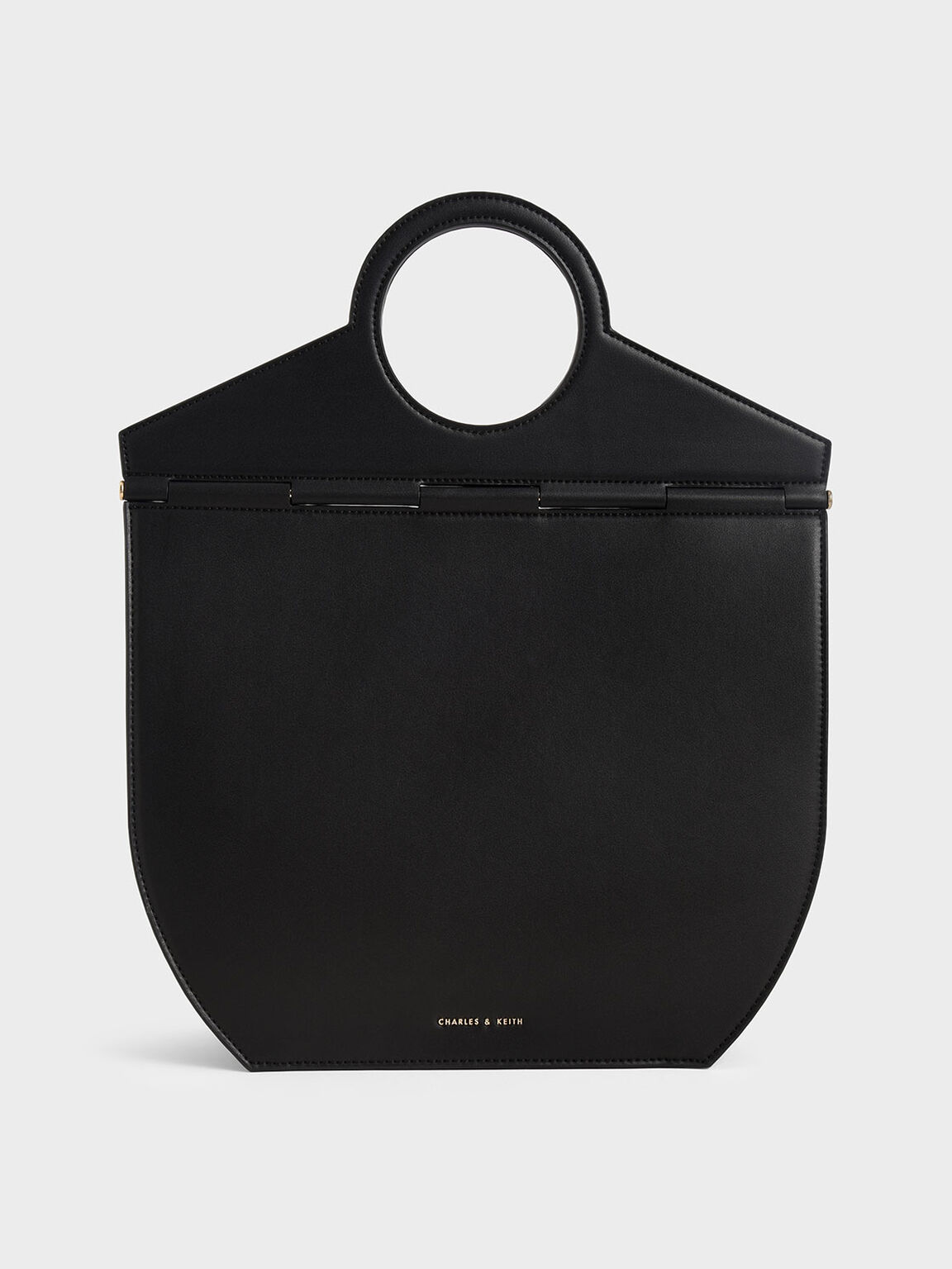 圓形手提托特包, 黑色, hi-res