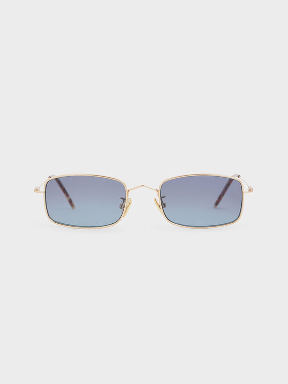 Rectangular Wireframe Sunglasses, Blue, hi-res