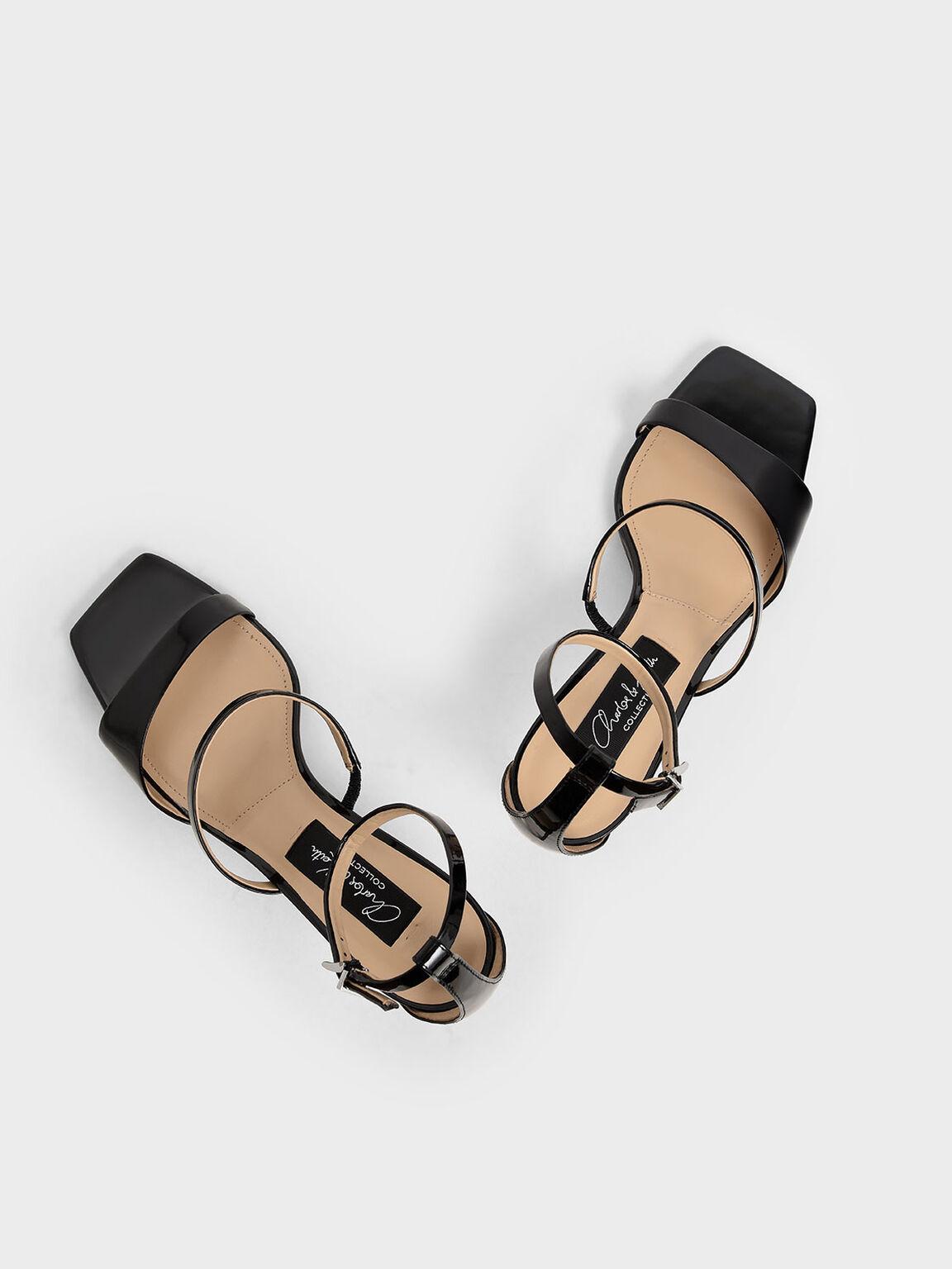 漆皮繞踝細跟鞋, 黑色, hi-res