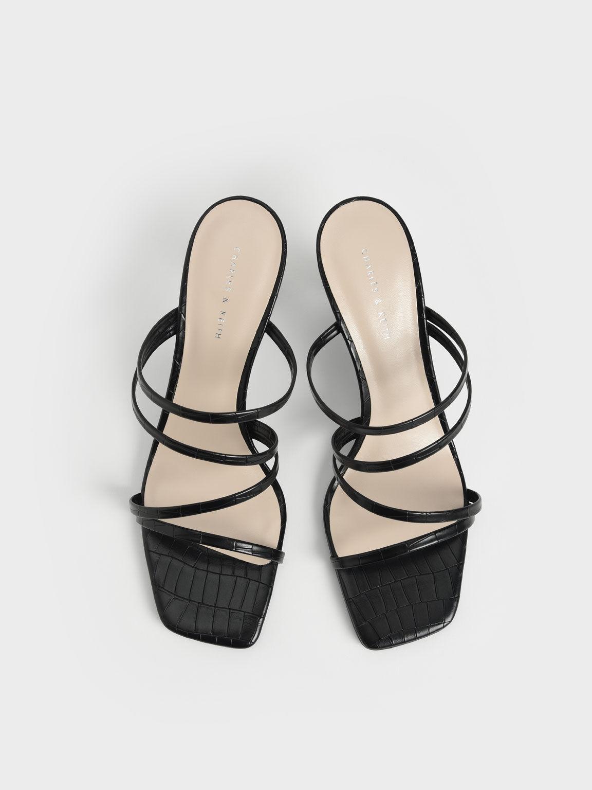 Croc-Effect Cylindrical Heel Mules, Animal Print Black, hi-res
