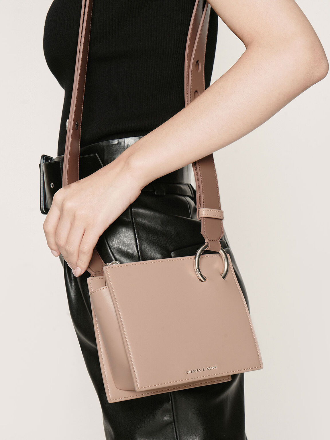 Square Crossbody Bag, Nude, hi-res