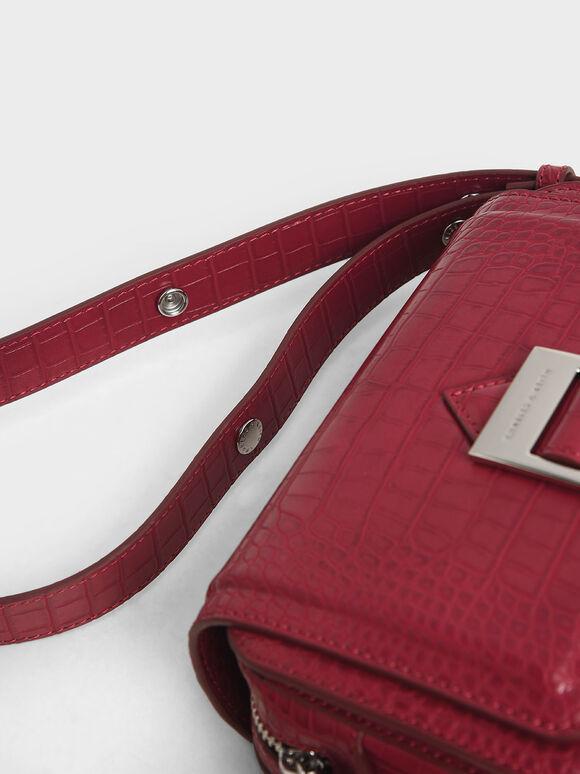 Buckle Strap Croc-Effect Shoulder Bag, Berry, hi-res