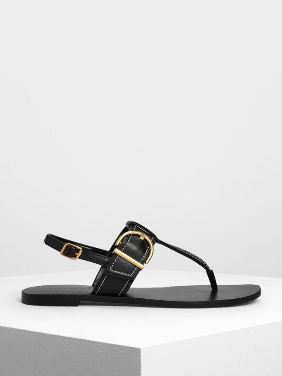 Buckle T-Bar Sandals, Black, hi-res