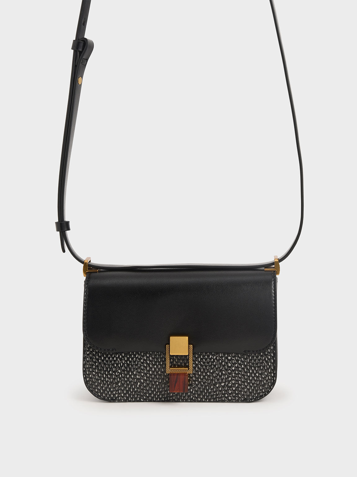 Snake Print Stone-Embellished Crossbody Bag, Black, hi-res