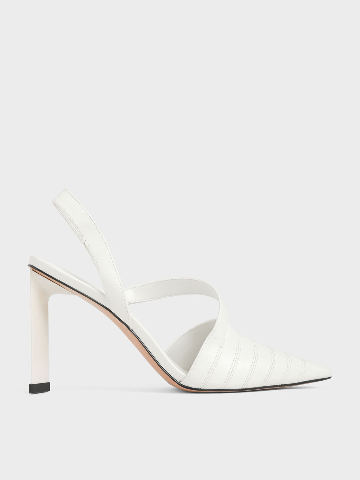 Asymmetric Slingback Pumps, White, hi-res