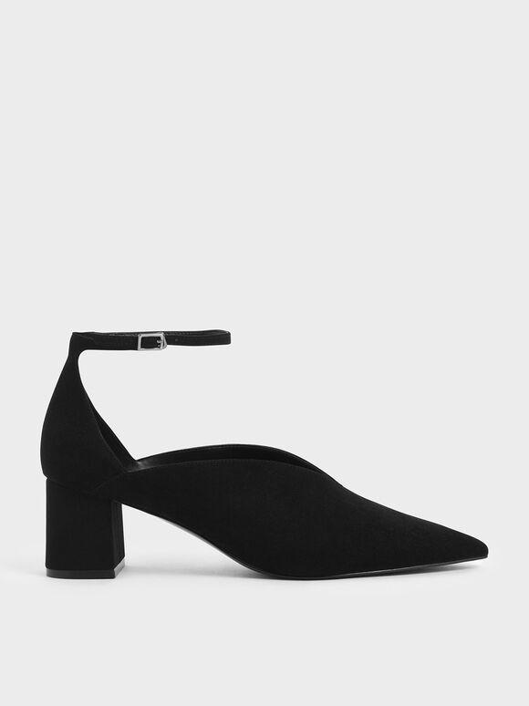 V-Cut Ankle Strap Pumps, Black, hi-res
