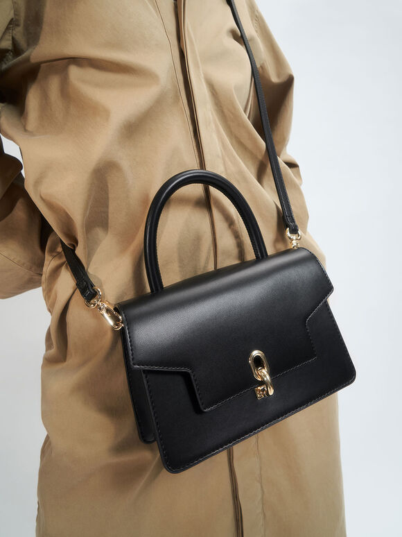 Leather Metallic Turn-Lock Bag, Black, hi-res