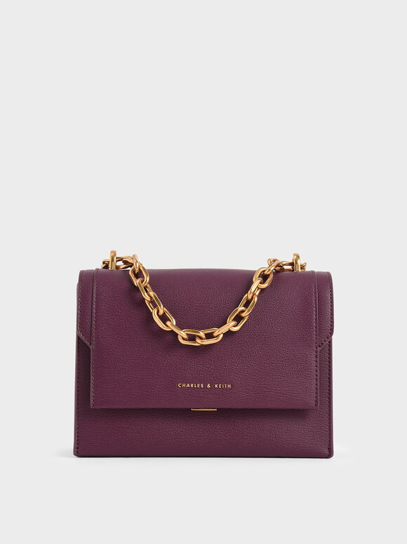 Chain Handle Evening Bag, Purple, hi-res